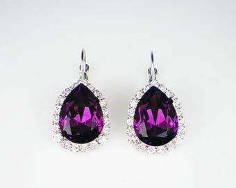SUMMER SALE Amethyst Rhinestone Earrings Swarovski Drop Earrings Violet Purple Wedding Jewelry Bridesmaid Earrings MADE To Order
