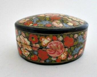 Vintage Trinket Treasure Box - Oval Kashmir Box - Lacquer Box - Jewelry Box - Gift Box
