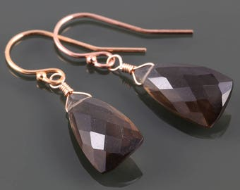 Smoky Quartz Earrings. Rose Gold-Filled Ear Wires. Unique Triangle Shape. Genuine Gemstone. Lightweight Earrings. f17e023