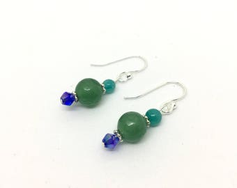 Beaded Green Aventurine, Amazonite, and Glass Drop Earrings