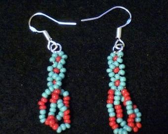ON SALE Winnebago Drop-Loop Earrings, Winnebago Earrings, Winnebage Seed Bead Earrings, Seed Bead Earrings