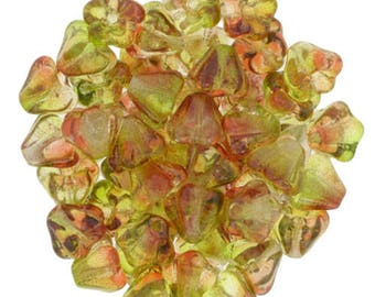 Czech Dual Coated - Peach Pear Baby Bell Flowers Beads 6x4mm  25 beads