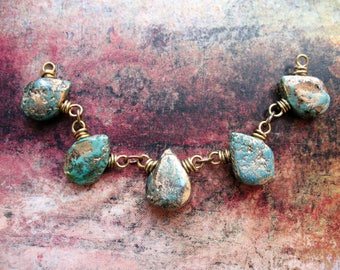 Gold Washed Turquoise Bead Connector set - 5 pieces