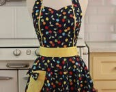 The MAGGIE Vintage Inspired Cherries on Navy Full Apron