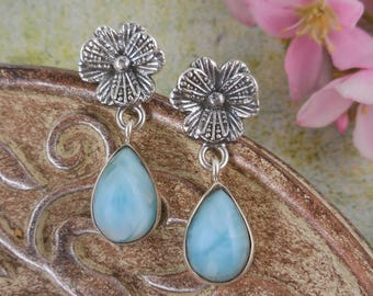 Larimar sterling silver flower post earrings