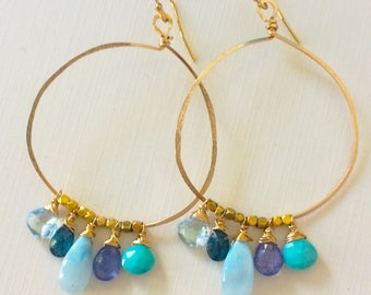 Larimar, Kyanite and Tanzanite Goldfill Hoops