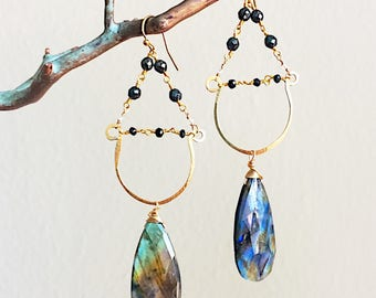 Labradorite Half Hoop Chandelier Earrings