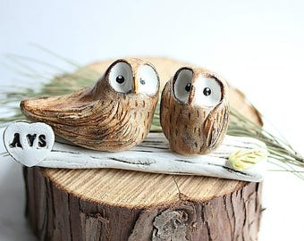 Ready to Ship Love Owls, Owl cake topper, Clay Owls, Rustic Cake Topper, Bird Cake Topper, Owl Wedding topper