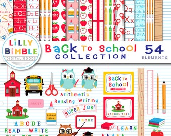 40% off BACK TO SCHOOL Collection of clipart and digital paper, 54 items commercial use, ruler, pencils, crayons, scrapbook