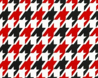 ON SALE - 10% Off Robert Kaufman Remix Houndstooth Red Black Quilting Apparel Fabric BTY