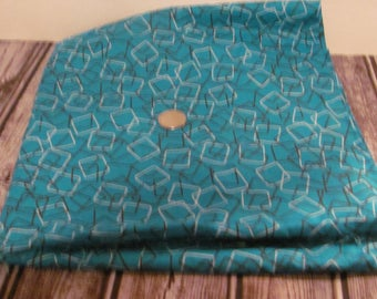 Turquoise, Brown and White With Square Shapes  Print Fabric