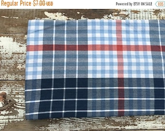 CRAZY SALE- Patriotic Plaid Fabric-Reclaimed Bed Linens-Cabin Look-Red and Blue