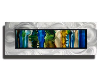 Modern Metal Art In Blue, Green & Yellow, Abstract Metal Wall Painting, Contemporary Wall Accent, One of a Kind Decor - JC 507F by Jon Allen
