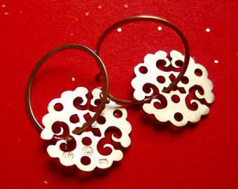 Sterling Silver Lace Dangle Earrings on Hoops