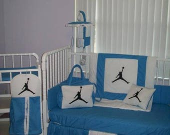 NEW 9 piece blue/white Michael Jordan baby crib bedding set, Diaper Bag and Mobile Accessory