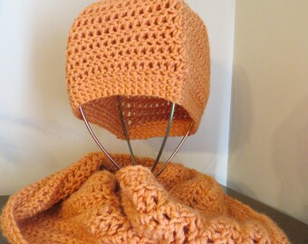Hat & Scarf Set in Soft Orange