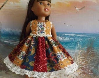 "14 and 14.5"" Doll Dress Romantic Autumn Fall Medley Fabrics OOAK V2 Fits dolls like H4H and Wellie Wishers"