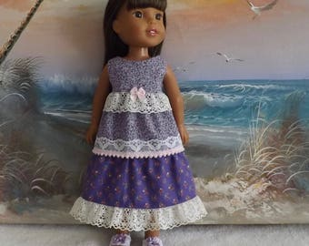 14 and 14.5 Inch Doll Dress Mori Girl Style Lavender Purple Lace Medley OOAK Fits Dolls like H4H and Wellie Wishers