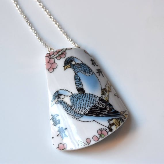 Broken China Jewelry Necklace  - Blue Birds