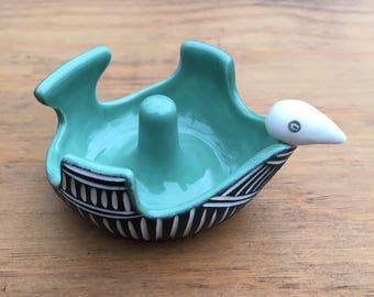 Modern Carved porcelain Bird Ring Dish