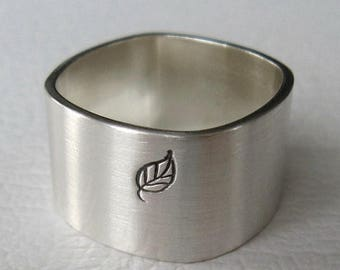ON SALE TODAY Silver Leaf Ring, Square Band, Nature Jewelry