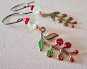 Ruby & Prasiolite Belle Fleur Earrings- Tiny Flowers - Copper  Sterling Silver - Verdigris - Etsy Jewelry - catROCKS - Pink Green - Leaf