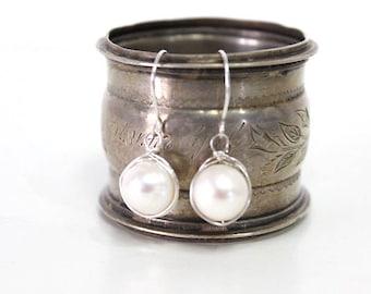 White Freshwater Pearl Drop Earrings Sterling Silver Wire Wrapped Earrings