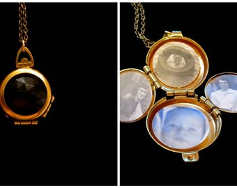 My Obsession - Vintage Black Faceted Four Picture Locket Necklace