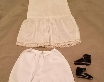 Handmade French Doll Silk slip, pantaloons, shoes 3 piece lot