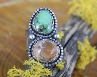 Happy Variscite and Cantera Opal Ring - size 7 - rustic sterling silver