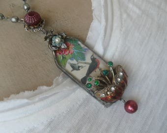 Summer Song, soldered pendant, birds, bird themed, nature, repurposed vintage, antique, wearable art, ooak, artist made, one of a kind