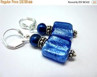 CIJ SALE Blue Foil Lampwork Earrings with Freshwater Pearls