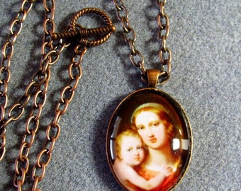 Virgin Mary Baby Jesus Handmade Catholic Glass Cameo Portrait Necklace Copper VM5