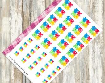 Autism Rainbow Puzzle Piece Stickers (ID489)