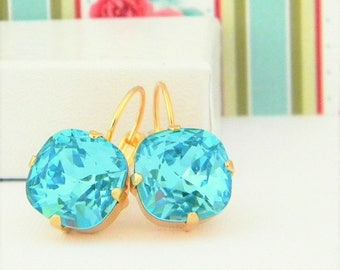 Swarovski Light Turquoise Cushion Cut Gold or silver Prong Leverback Earrings