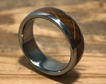 Oak Wood Wedding Band for Men/ Mens Titanium Wedding Ring/ Year of Wood Anniversary Gift/ 5th Anniversary Charred Oak Whiskey Barrel Ring