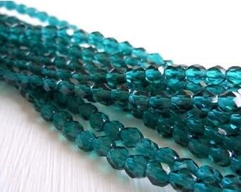 25% OFF Sale Czech Beads - Viridian Blue Firepolished 4mm Beads - 50 beads
