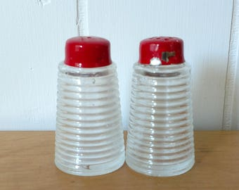 vintage red ribbed glass salt and pepper shakers