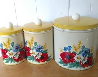vintage yellow flower poppy daisy canisters