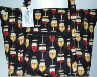 Quilted Fabric Handbag Tote with Wonderful Collage of Wine Glasses