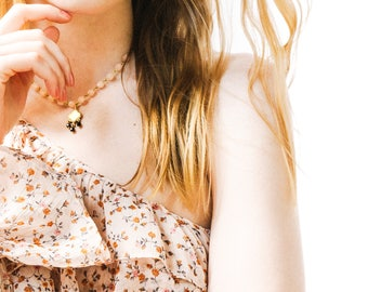 Blush Bead Necklace, Boho Bead Necklace, Blush Bead Bridesmaids Necklace, Blush Pendant Necklace