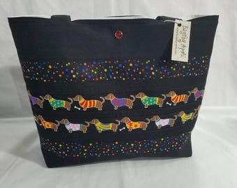 Dachshunds in Sweaters purse tote handbag