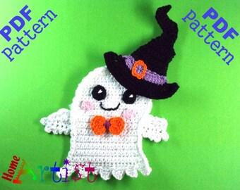 Ghost + Hat Halloween crochet Applique Pattern