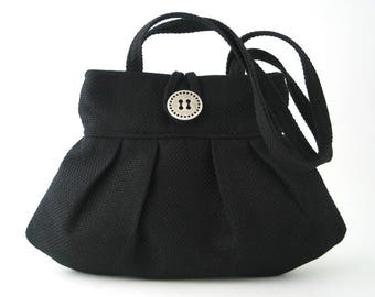 black handbag shoulder bag black purse fabric handbag pleated bag small