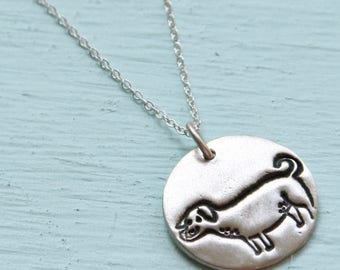 ON SALE LABRADOR dog silver pendant - illustration by Gemma Correll - handmade sterling silver necklace by Chocolate and Steel