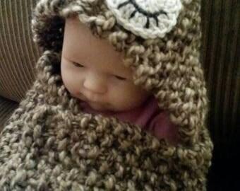 Newborn Sleepy Owl Bulky Hooded Blanket Photo Prop FREE SHIPPING in USA