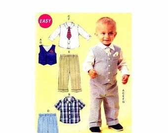 SALE Infant Boys Vest Shirt Shorts Pants Tie Pocket Square McCalls P339 Sewing Pattern Size Nbn - Sml - Med - Lrg - Xlg UNCUT