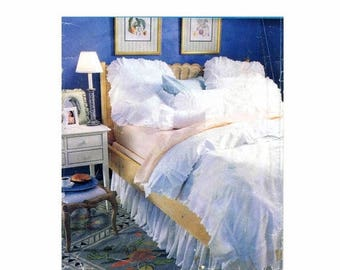 sale butterick pillow covers duvet cover dust ruffle white bedroom vintage sewing pattern uncut