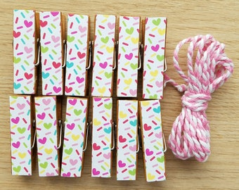 Confetti Heart Sprinkles Chunky Little Clothespin Clips for Display -  Set of 12 - Girl Baby Birthday - With Twine - Ready to Ship