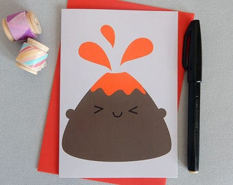 Volcano Card - Kawaii Greetings Card -  I Lava You